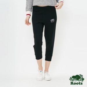 ROOTS Black Logo Cropped Slim Panel Sweatpants